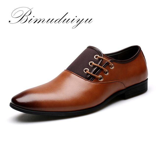 Best Value $33.79, Buy BIMUDUIYU Big Size 6.5-12 New Fashion Men Wedding Dress Shoes Black Shoes Round Toe Flat Business British Lace-up Men's shoes