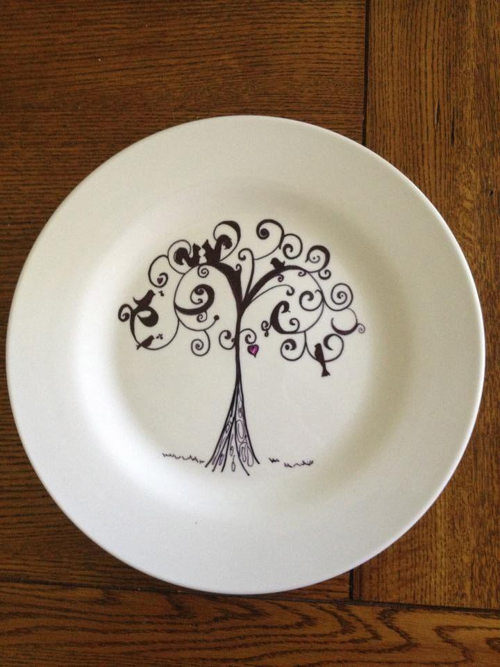 Sharpie art on a plate! Art work done by Diana Herrera