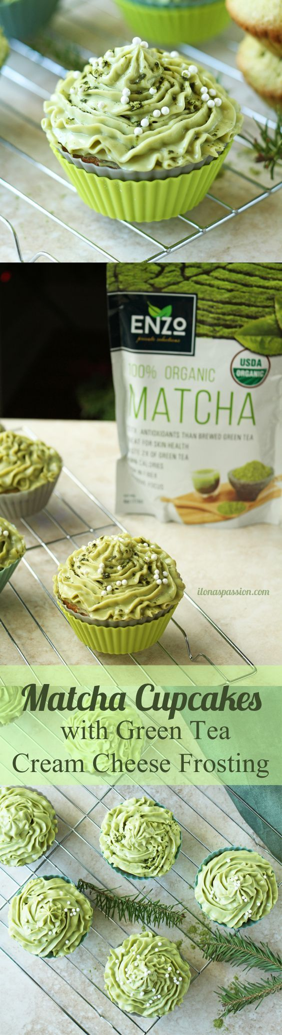Delicious Matcha Cupcakes with Green Tea Cream Cheese Frosting    Find more stuff: www.victoriasbestmatchatea.com