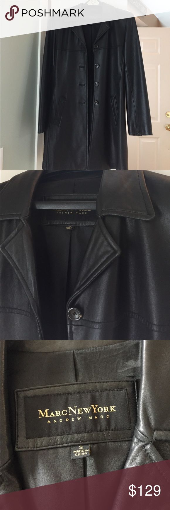 Andrew Marc black leather jacket Buttery soft mid length black leather jacket by Marc New York by Andrew Marc Andrew Marc Jackets & Coats Trench Coats