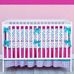 Lila Girls Chevron Crib Bedding in Pink and Turquoise. So cute for a baby girl. Can't get enough of pink and turquoise!