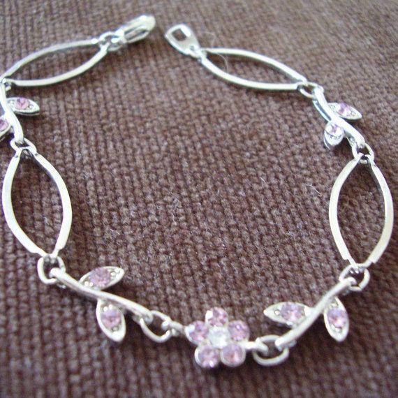 Bracelet Pink Crystal Flower Silver-tone by Vintage0Sparklers