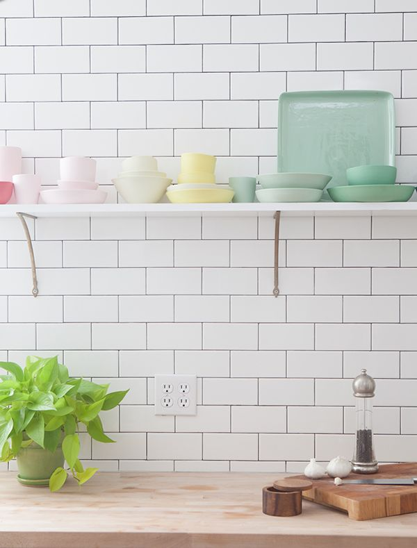 Colorful shelf in the kitchen.