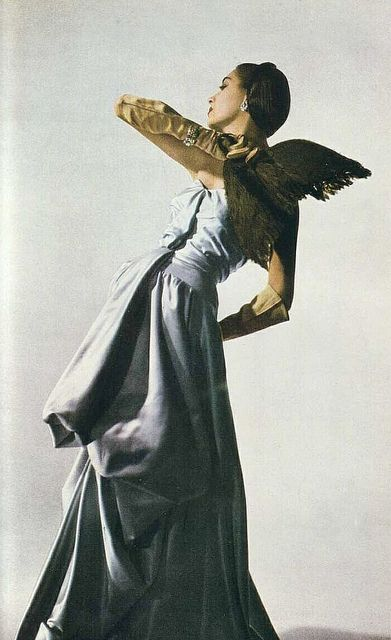 Satin ball gown by Charles James, Harper's Bazaar    Photo by Louise Dahl-Wolfe