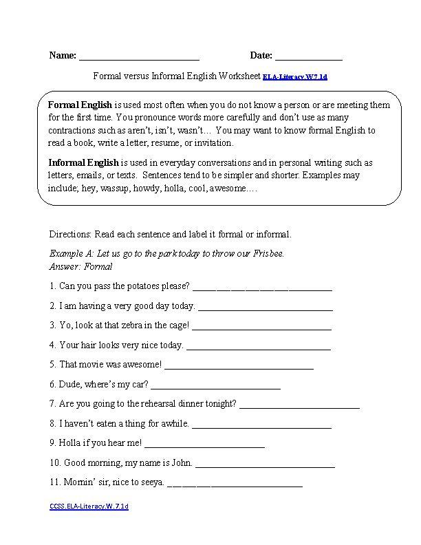Formal Vs Informal Style Ela Literacy W 7 1d Writing Worksheet 6th Grade Writing Common Core Writing Writing Worksheets
