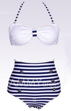 $10.50 Maillot de Bain Taille Haute Bikini Rayure Croisée Licou Avec Six Boutons Pour Femmes