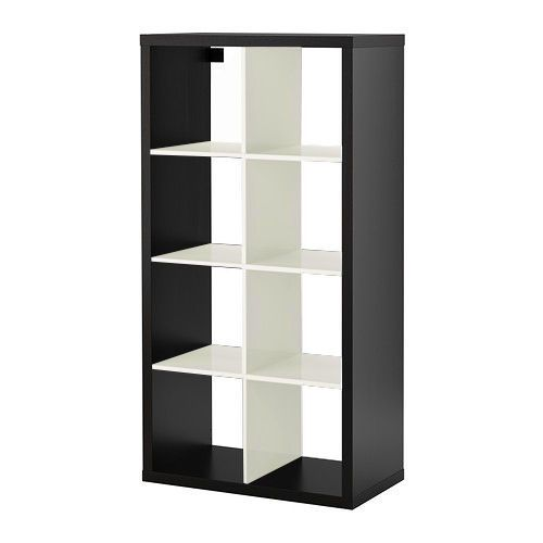 IKEA KALLAX in WHITE-BLACK, SHELVING UNIT BOOKCASE BOOKSHELF 77 x 147 cm