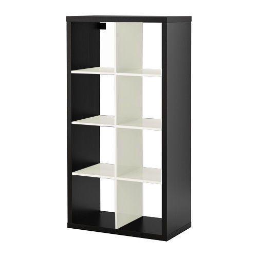 IKEA KALLAX in WHITE-BLACK, SHELVING UNIT BOOKCASE BOOKSHELF 77 x 147 cm