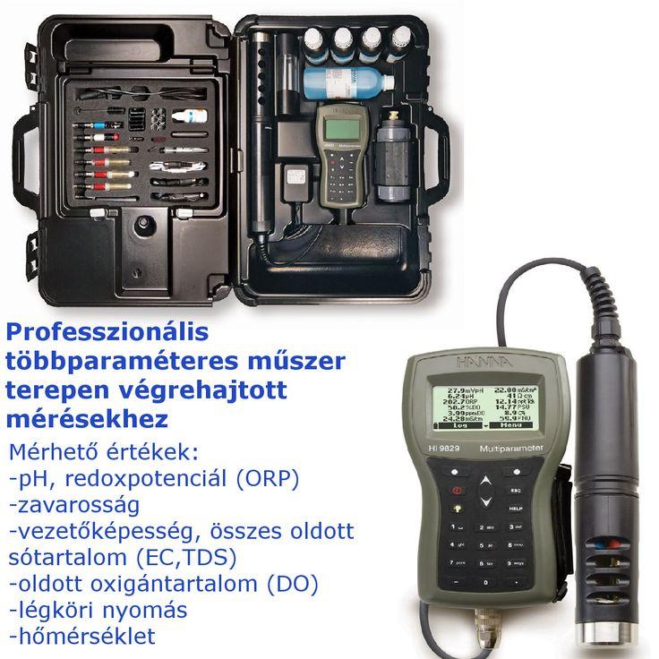 A Hanna HI9829 egy professzionális hordozható mérőműszer, amely kialakításának köszönhetően kiválóan alkalmas a terepi vizsgálatokhoz. A vízminőséggel összefüggő 15 paraméter mérésére képes pl.:pH,ORP,EC,TDS,DO,stb.