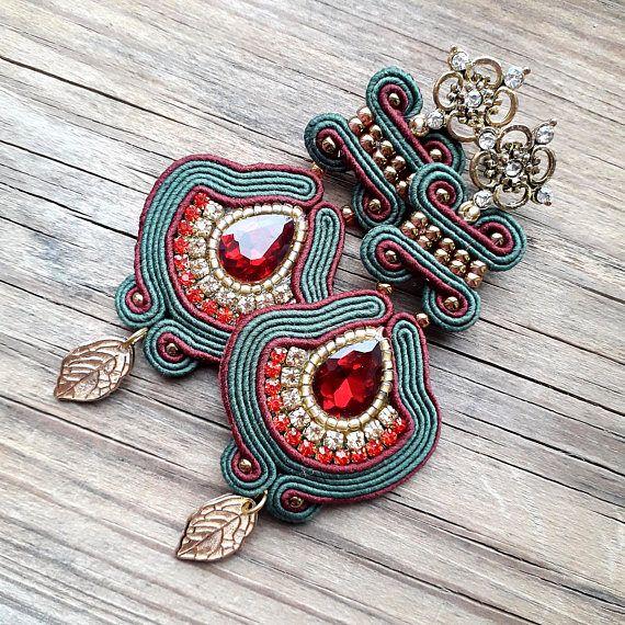 Ventilateur boucles d'oreilles soutache rouge foncé vert boucles d'oreilles ethnique Gipsy boucles d'oreilles textile grandes boucles d'oreilles sud-ouest pendantes boucles d'oreilles аztec boucle d'oreille tribal oriental bollywood boucles d'oreilles légères * COULEURS : Vert
