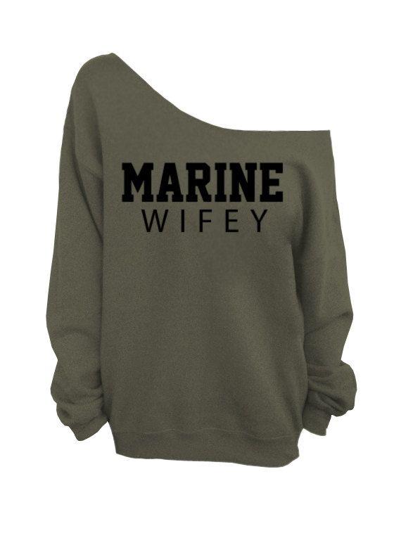 Marine Wifey Oversized Off the Shoulder Sweatshirt by WifeyChic, $29.00