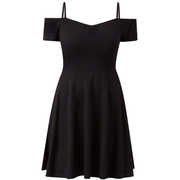 Black Strappy Bardot Neck Skater Dress found on Polyvore