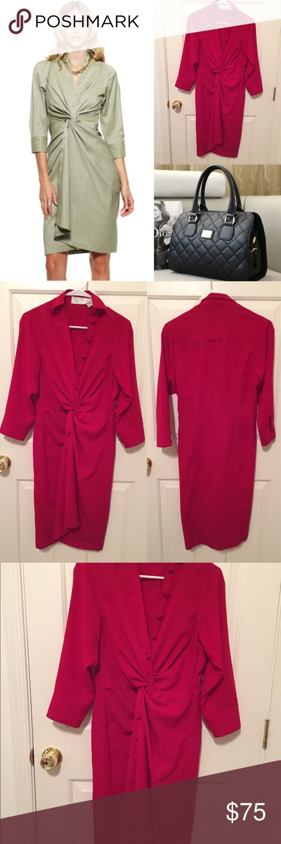 Red Hot Byron Lars twisted shirt dress Size 6. Measurements are shown in photos. There are no flaws that I know of. Please carefully look at each photo before purchasing Anthropologie Dresses