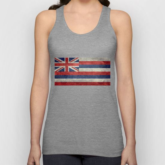 The State flag of Hawaii - Vintage version Unisex Tank Top  #Hawaii #flag #Hawaiianflag #vintage #retro