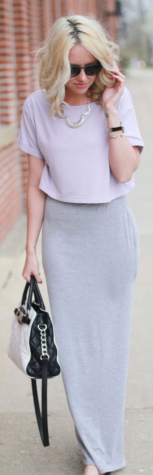 Missguided Grey Side Slit Maxi Skirt by