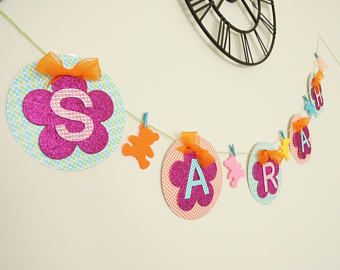 Custom name banner for girls and boys, Nursery name sign, Baby shower name bunting, Name made to order sign, Personalised name bunting.