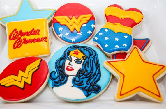 One Dozen Wonder Woman Cookies by CharliesCookies on Etsy, $72.00