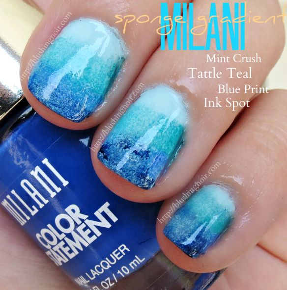 Milani Color Statement Nail Lacquer Sponge Gradient Nail Art via @blushingnoir