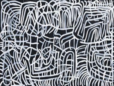 Emily Kngwarreye 'Alalgura (Yam) IV (1995). Polymer paint on linen, 122 x 214 cm