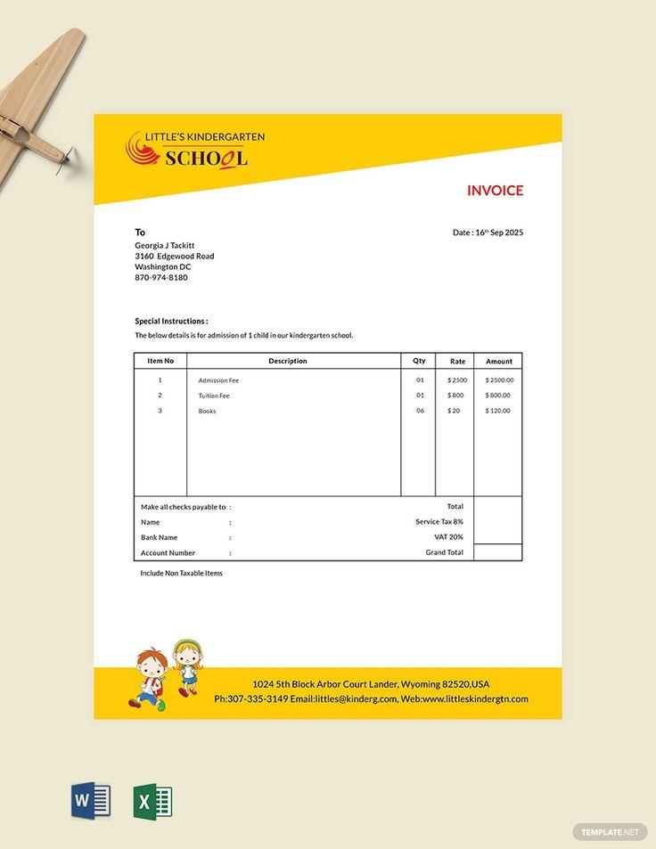 Kindergarten school invoice template in 2020
