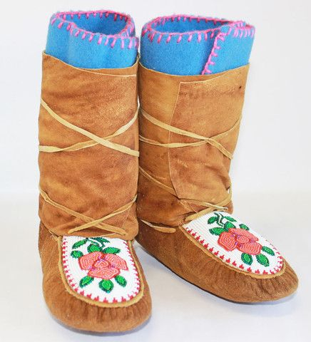 Moose/Caribou Hide Wrap Around Moccasins
