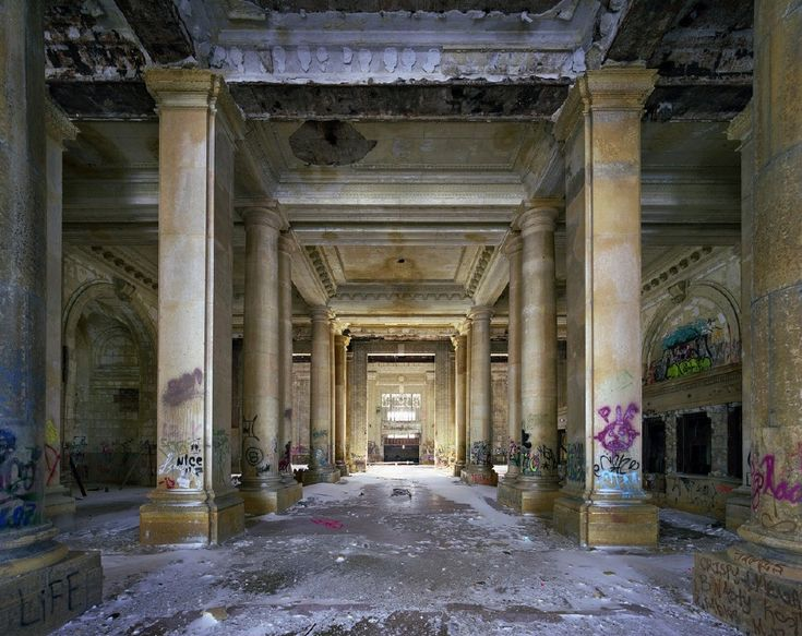 Ticket lobby of Michigan Central Station in Detroit, part of the photo essay by Yves Marchand and Romain Meffre. To me, this seems like an ancient Egyptian temple.