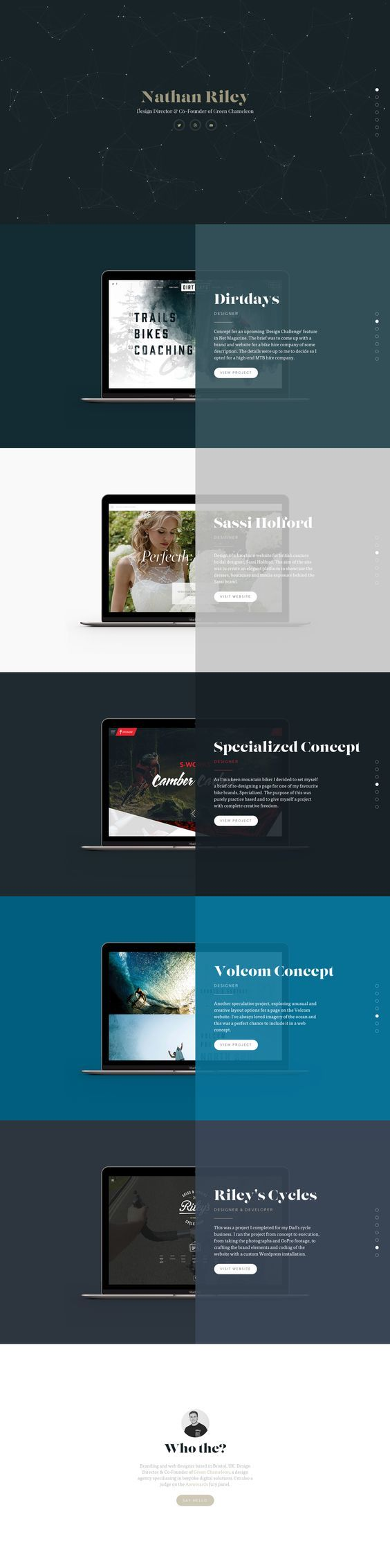 Responsive One Page portfolio for Green Chameleon designer, 'Nathan Riley' featuring a refreshing approach to the trendy centrally divided One Page layouts.: