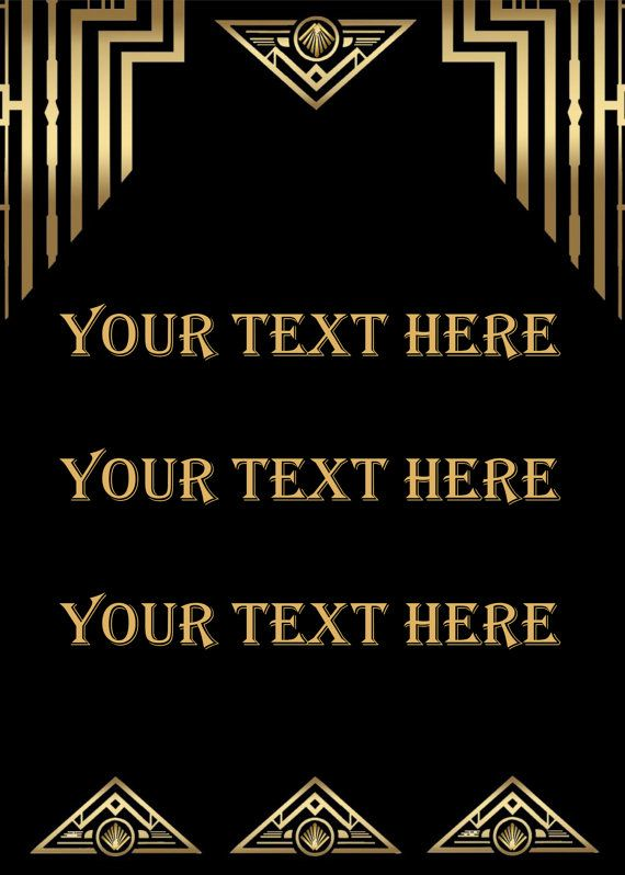 Great Gatsby Style Art Deco Template, Birthday Party Signs ...