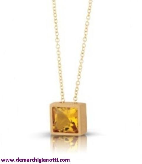 Bliss gioielli Collier 33262  In argento placcato oro   Pietra termale color ambra e diamante  www.demarchigianotti.com