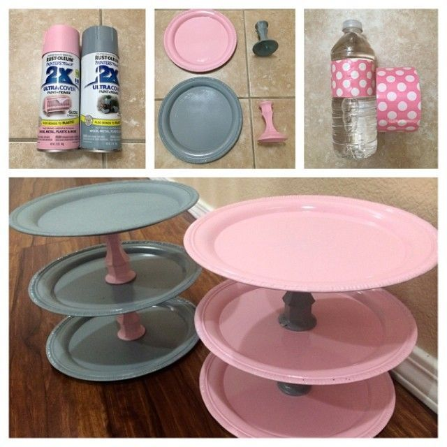 More #DIY projects for the #babyshower. If you're on a budget..those are silver plates and glass candle holders from the Dollar tree we spray painted and superglued together for cupcake stands. Also duct tape wrapped around the water bottles.