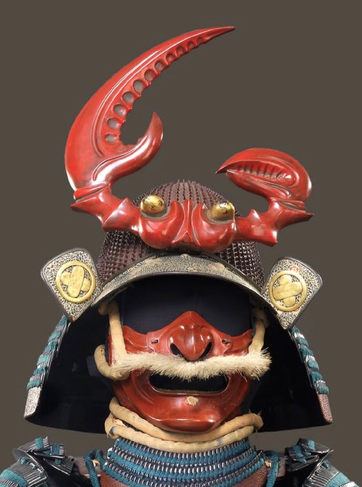 Crab on samurai helmet