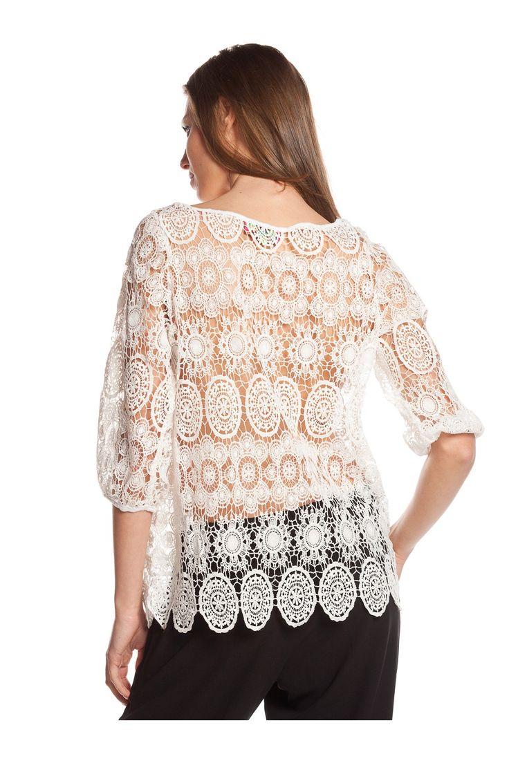 Lace half sleeve blouse - WOMAN   Rosalita McGee #whiteforsummer #whitestyle #whiteblouse #blusablanco #blusamediamanga #blancototal  #mangafrancesa #blusaencaje #blusabordados #rosalitamcgee