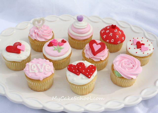 valentine cupcakes by mycakeschool.com