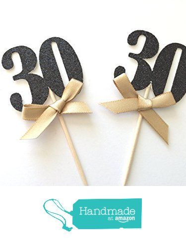 Black and Gold Glitter Number Cupcake Toppers. 30th Birthday Decorations. 12CT from Paper Trail by Laura B.