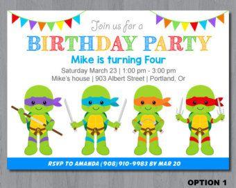 Ninja Turtle invitation TMNT Invitation Teenage mutant ninja