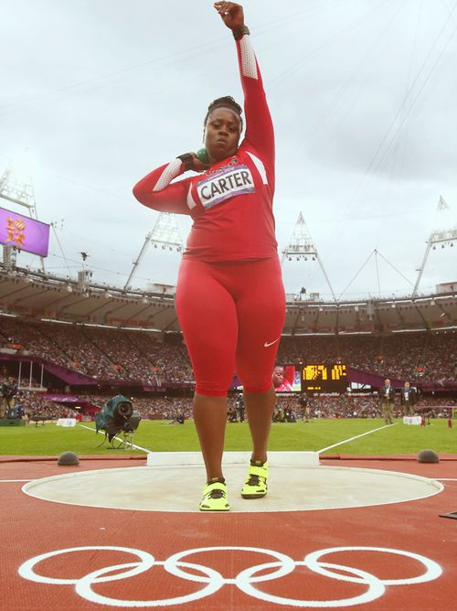 Michelle Carter competes in the Women's Shot, sport, strong women, female athletes, olympics