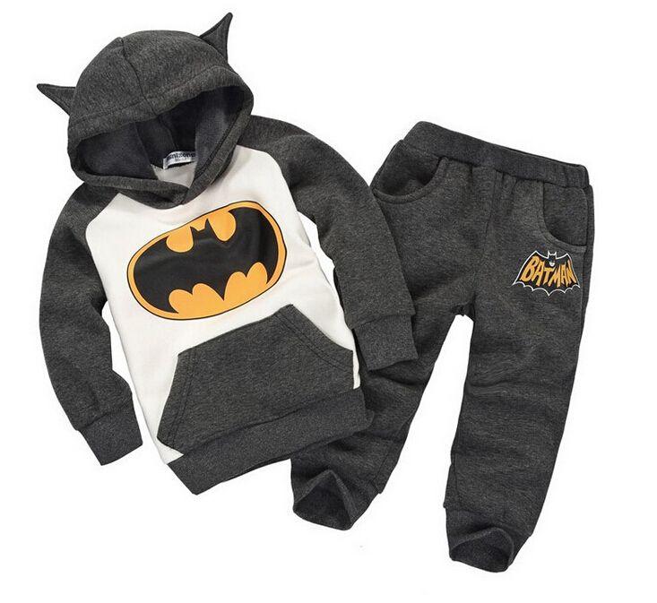 Hot 2017 Winter Batman baby boys clothing set 2-6Y Kids children hoodies thicken winter warm clothes boys girls sets new arrival