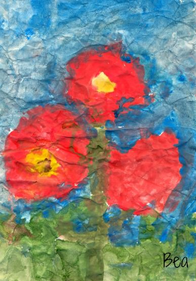 Art project for kids - painting on wet crumpled paper.