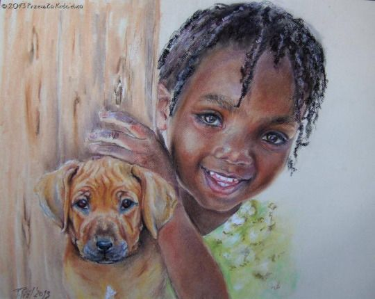 The child and puppy (Rhodesian Ridgebac). Pastel drawing by Canis Art Studio