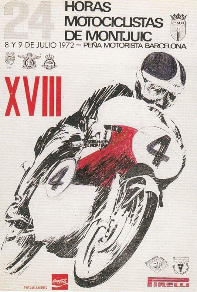 Cartel 24 H De Montjuich De 1972 Carteles Antiguos Motocicletas