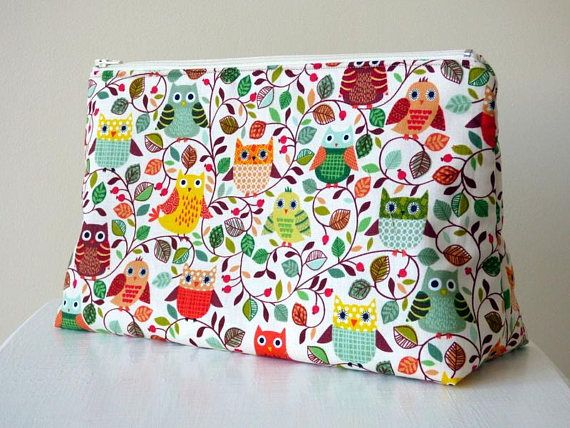 Toiletry Bag with Owl Print Wash Bag Zipper Pouch Large