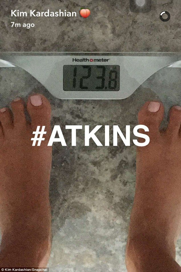 Almost there! Kim Kardashian took to Snapchat on Friday to show off her progress as she moved closer to her goal weight of 120 pounds