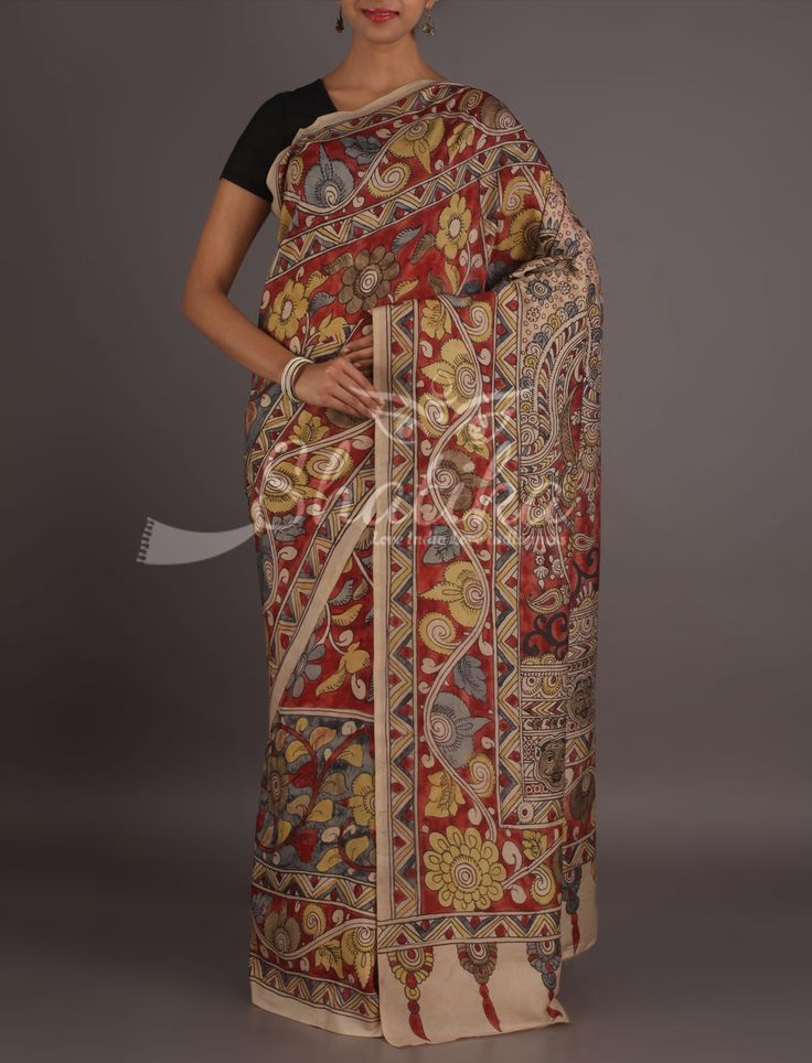 Neelam A Page From Epic Exclusive Handpainted Kalamkari Saree