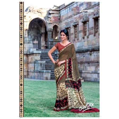 Where to find multicoloured georgette saree in India? #Laxmipati offers multicoloured #georgettesaree with Multicoloured Georgette Blouse.  E-mail Us : info@laxmipati.com