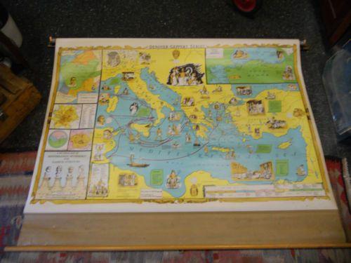 18 best pull down charts images on pinterest charts graphics 1967 denoyer geppert mediterranean greek mythology gods pull down school map ebay gumiabroncs Images