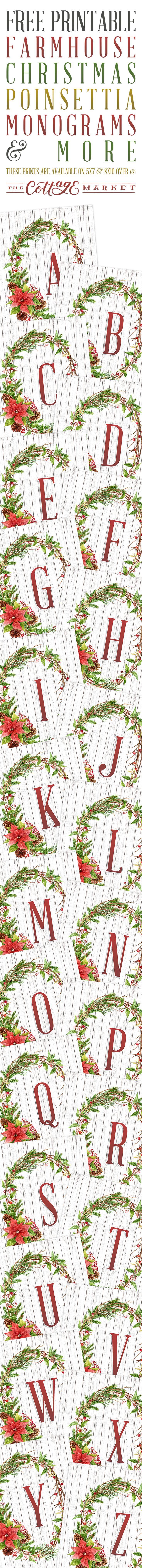 Free Printable Farmhouse Christmas Poinsettia Monograms and More