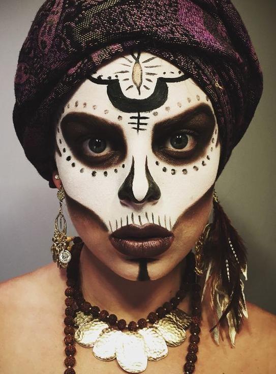 Halloween makeup Voodoo priestess.