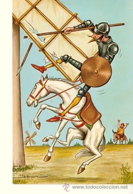 la famosa historia de los molinos de viento: cómo Don Quijote piensa que los molinos de viento son gigantes con 50 brazos que son enemigos.