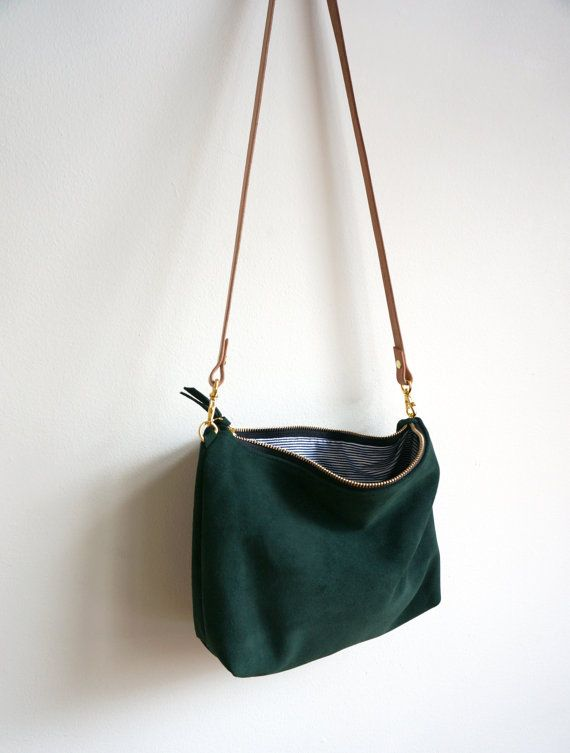Green Suede Mini Hobo / Suede Bag / Purse / Crossbody Bag / Shoulder Bag / Everyday Bag / Green Bag
