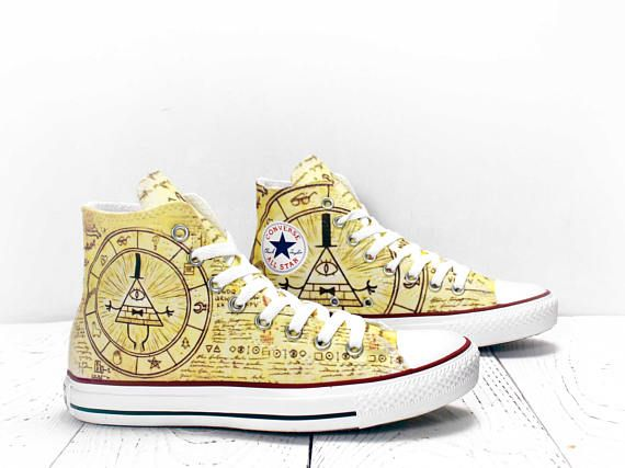 Gravity Falls Bill Cipher magic circle custom hi top ...